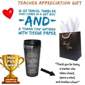 NEW Teacher Appreciation 16 oz tumbler & gift bag